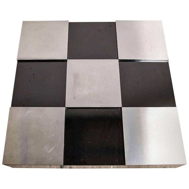 Large Square Modernist Black and White Checkerboard Low Cocktail Table For Sale