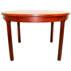 Midcentury Round Swedish Rosewood Dining Table with Two Leafs