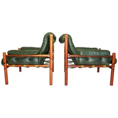 Pair of Arne Norell Green Leather Lounge Chairs