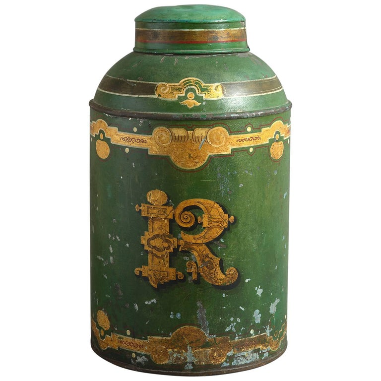 19th Century Victorian Green Tole Tea Cannister