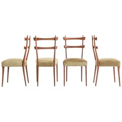 Vittorio Dassi Design Dining Chairs, Rosewood Frame and Upholstered Seat