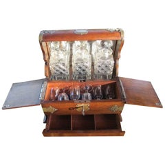 Traveling Bar with Barware from circa 1900