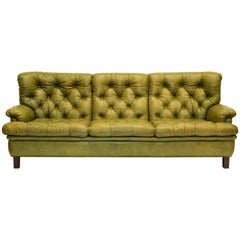 "Midcentury Arne Norell Three-Seat Green Leather Sofa ""Jupiter"""