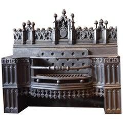 Magnificent antique 19th Century Gothic Revival Cast Iron Hob Grate