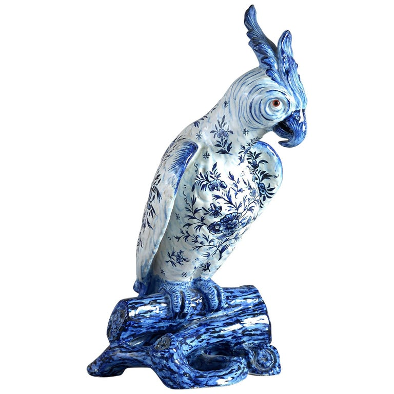19th Century Blue and White Faience Pottery Parrot For Sale