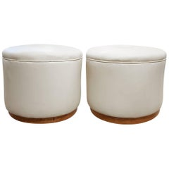 Pair of Art Deco Pouffe Stools with Maple Veneers