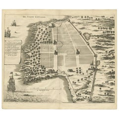 Antique Print of the City of Coulang 'Kollam, India' by P. Baldaeus, 1672