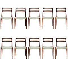 Niels O. Møller Model 78 Rosewood Dining Chairs, 1962