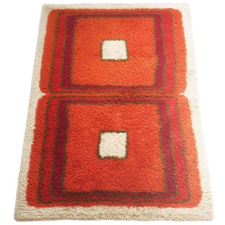 Danish Modern Wool Rya Rug Tapestry By Hojer Eksport