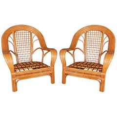 1970s Pair of Bamboo Sofa Chairs