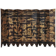 Fine 19th Century Chinese Coromandel Twelve-Leaf Screen