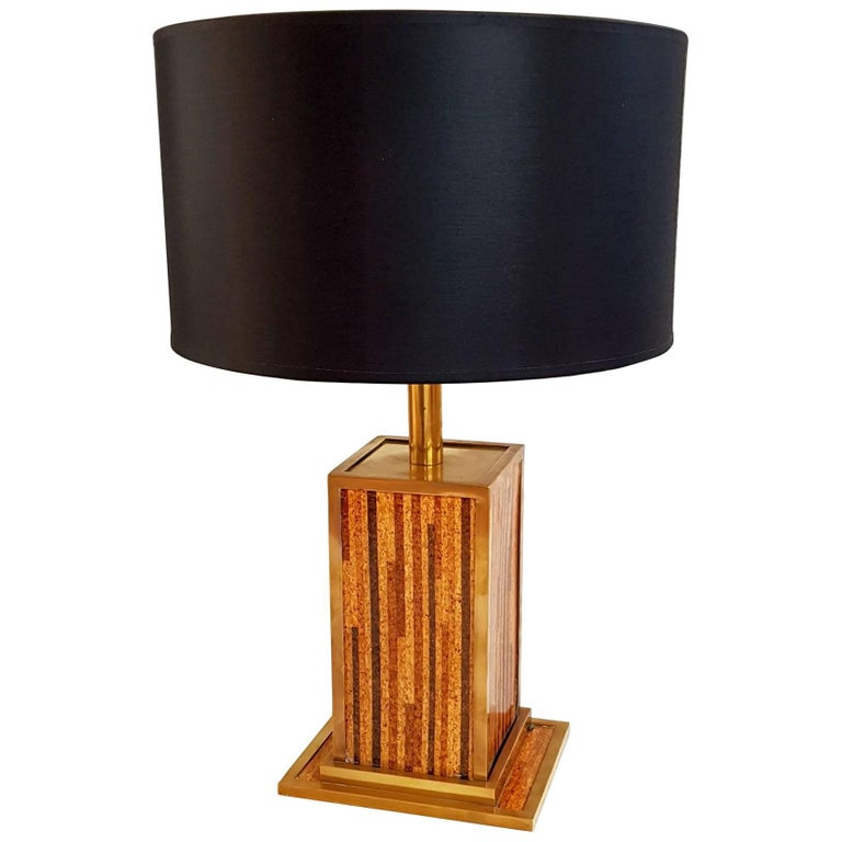 Italian Table Lamp in Cork and Brass, circa 1970