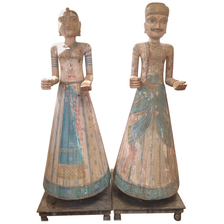 Spectacularly Impressive Pair of Handmade Indian Sculptures For Sale