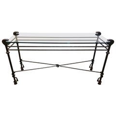 Chic Giacometti Style Iron and Glass Console Table