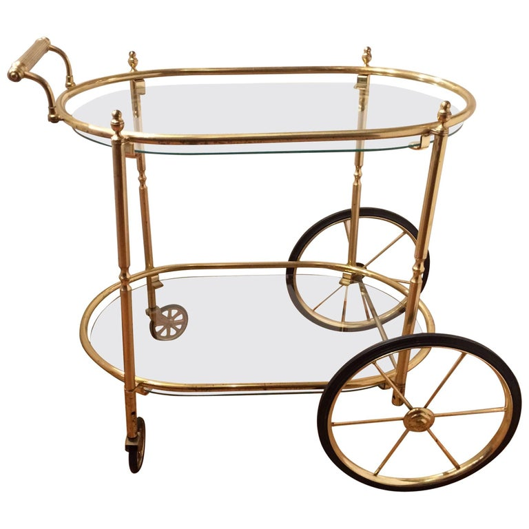 Glamorous Mid Century Modern Brass and Glass Oval Two-Tier Bar Cart