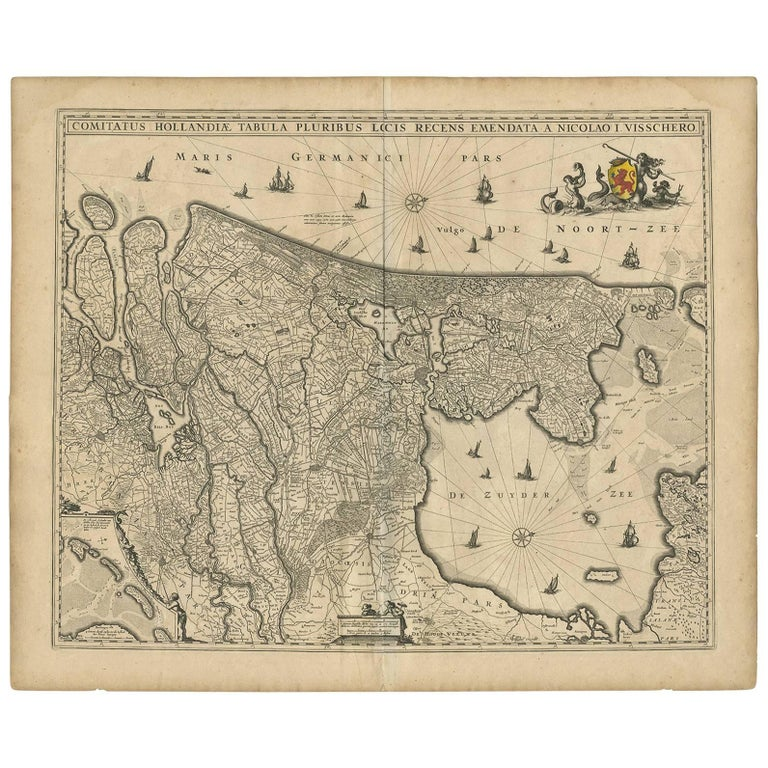 Antique Map of the Netherlands by N. Visscher, 1684 For Sale
