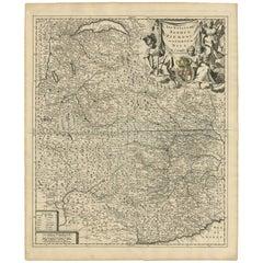 Antique Map of Piemonte, Torino and Savoye Italy by Sanson, circa 1660