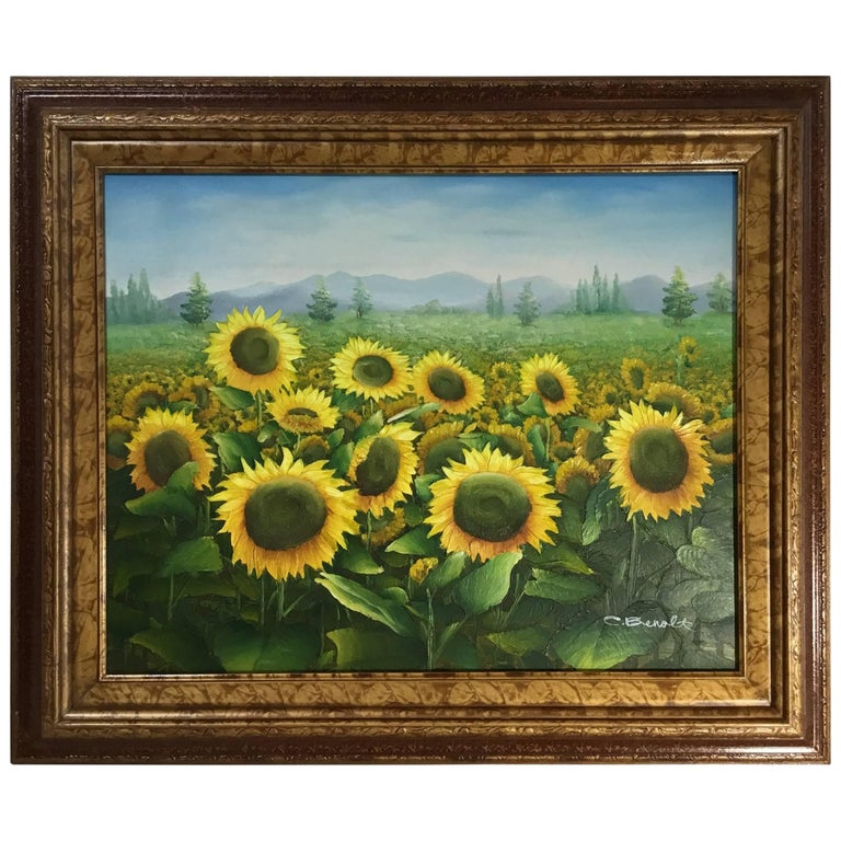 Sunflower Field Oil Painting on Canvas