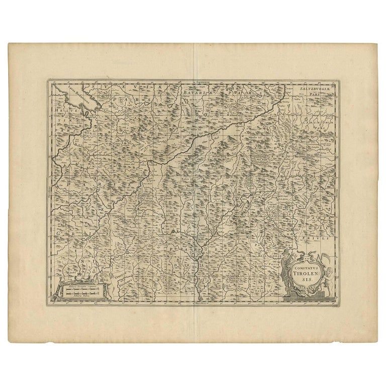 Tirol Italy Map.Antique Map Of Austria Tirol With Parts Of Italy By J Janssonius