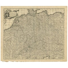 """Antique Map of Central Europe """"Centered on Germany"""" by F. de Wit, circa 1680"""