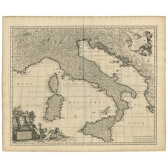 Antique Map of Italy by N. Visscher, circa 1690