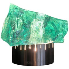 1960s Max Ingrand Midcentury Chiseled Glass Table Lamp for Saint Gobain