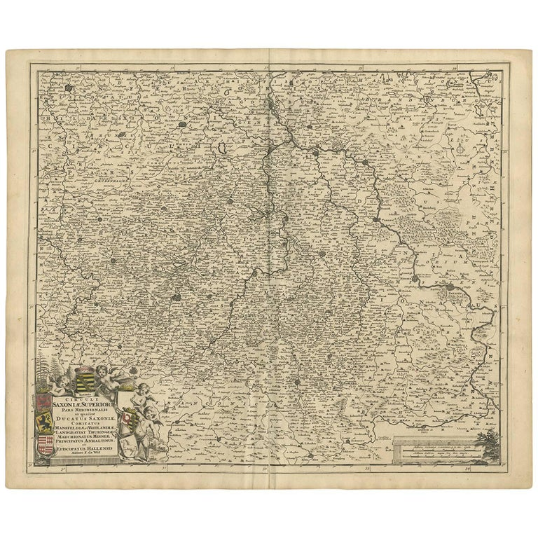 Antique Map of the Saxony Region 'Germany' by F. de Wit, circa 1680 For Sale