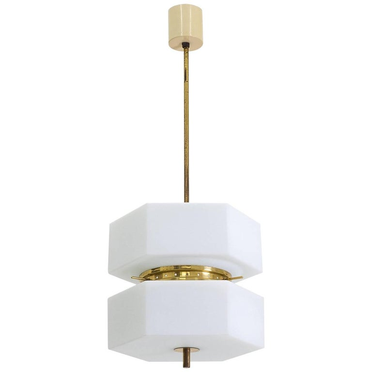 Stilnovo Hexagonal Satin Glass and Brass Pendant, 1950s