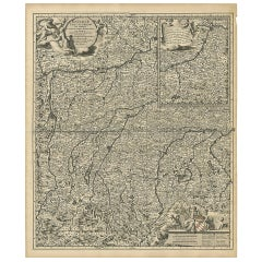 Antique Map of Bayern 'Germany' with an Inset Map of Burghausen by N. Visscher