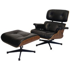 Eames Style Leather Lounge Chair with Ottoman