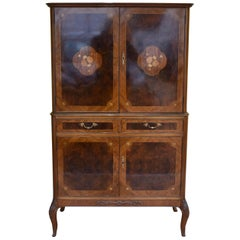 Burr Walnut and Marquetry Inlaid Cocktail Cabinet by H&L Epstein