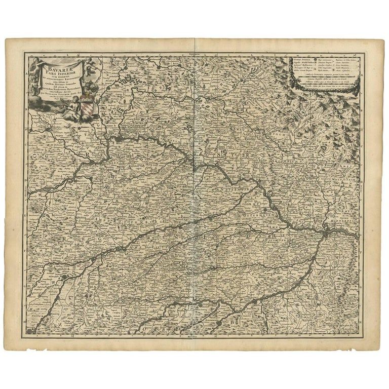 Antique Map of Bavaria 'Bayern, Germany' by N. Visscher, circa 1700 For Sale