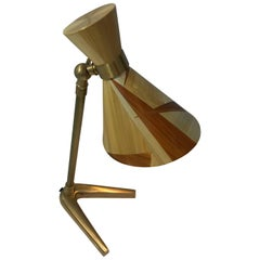 Straw Marquetry and Brass French Table Lamp