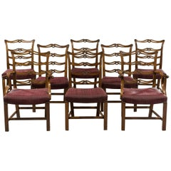 Set of Eight George III Period Mahogany Ladder-Back Dining Chairs