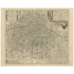 Antique Map of Southern Germany by F. de Wit, circa 1680