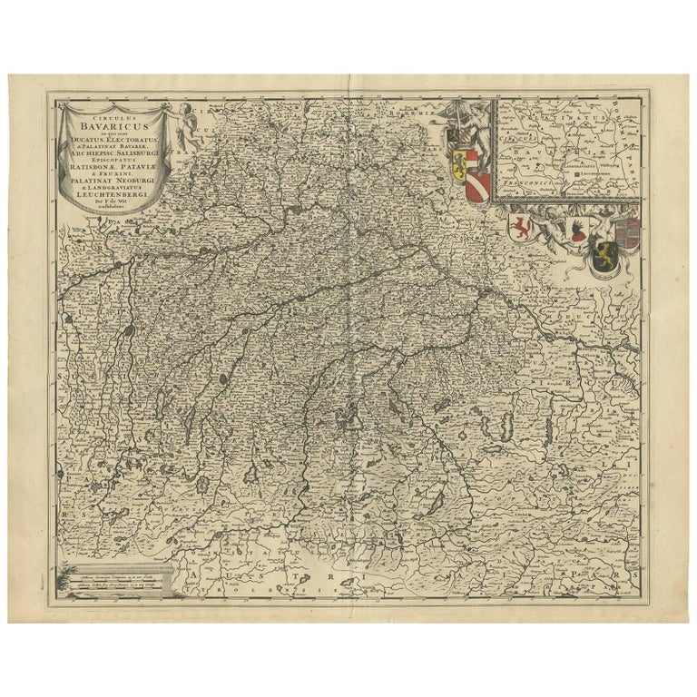 Antique Map Of Southern Germany By F De Wit Circa 1680 For Sale At
