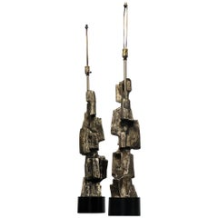Pair of Tempestini for Laurel Lamp Co. Abstract Lamps