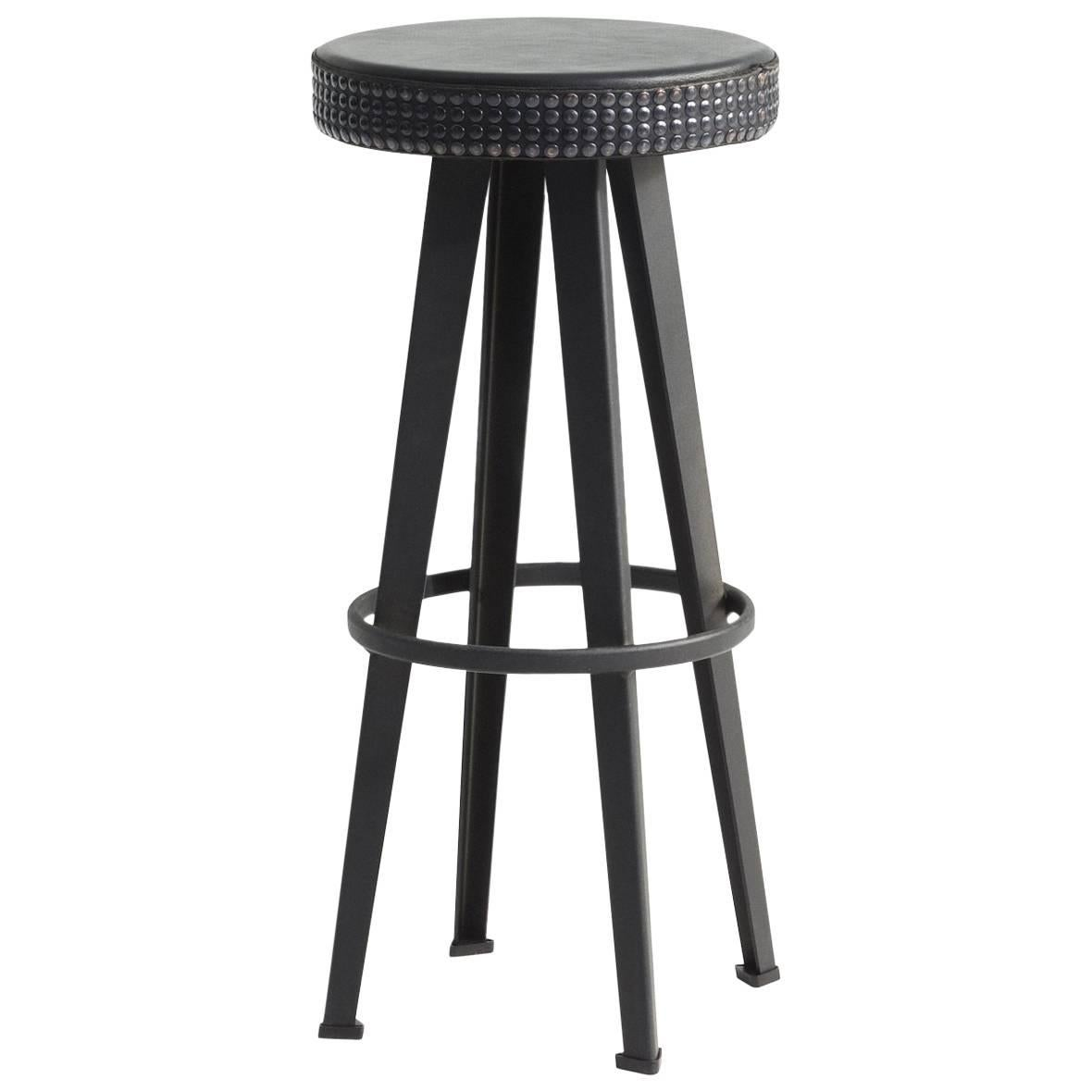"""""""Bar Stud"""" Studded Black Leather and Steel Base High Stool by Moroso for Diesel"""