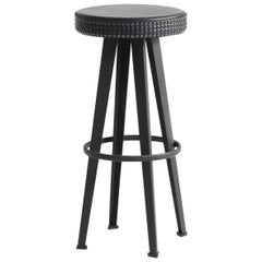 """Bar Stud"" Studded Black Leather and Steel Base High Stool by Moroso for Diesel"
