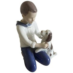 Bing & Grondahl Figurine of Boy Brushing His Dog #2334