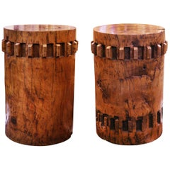 Sugar Cane Breakers Set of Two Pedestals in Solid Nara Wood