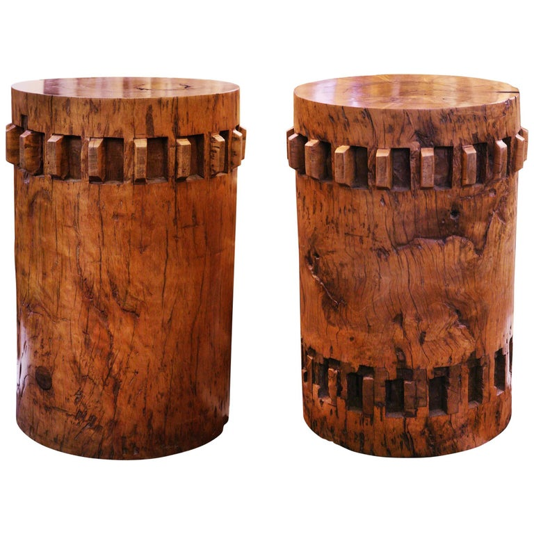 Sugar Cane Breakers Set of Two Pedestals in Solid Nara Wood For Sale