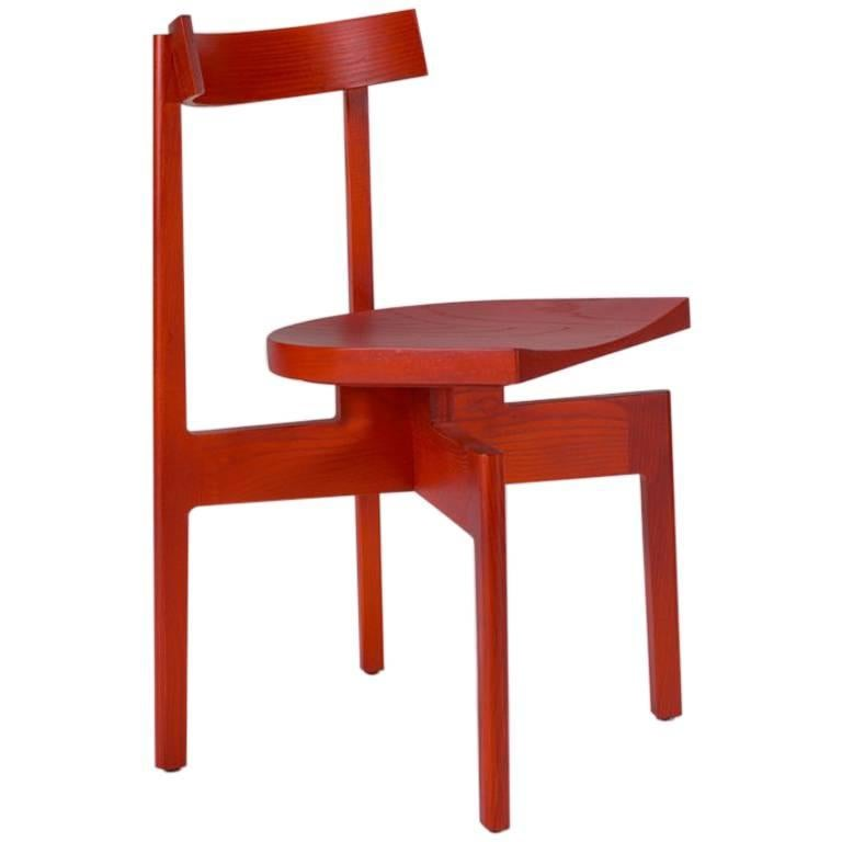 Pleasant 100Xbtr Contemporary Stoolback Wood Dining Chair In Red Dyed Ash Evergreenethics Interior Chair Design Evergreenethicsorg
