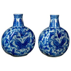 Chinese Stem Vases, Circular Bowls, Narrow Necks, Blue and White Butterfly, Pair