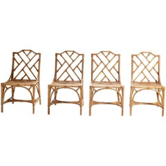 Set of Four Caned Bamboo Chairs, 1970s