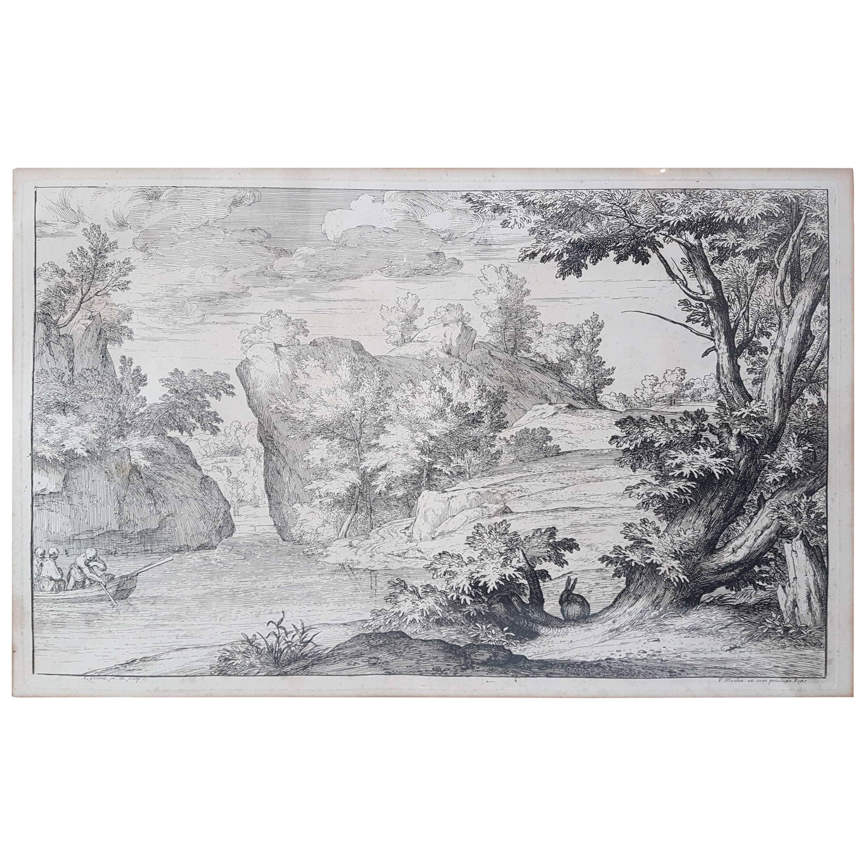 "17th Century Flaemish Abraham Genoels II ""Landscape with Rabbit"" Etching"