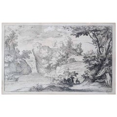 "17th Century Flaemish Abraham Genoels II ""Landscape with Rabbit"" Etching"