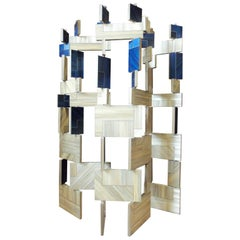 Blue French Straw Marquetry Screen