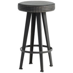 """Bar Stud"" Studded Black Leather and Steel Base Low Stool by Moroso for Diesel"