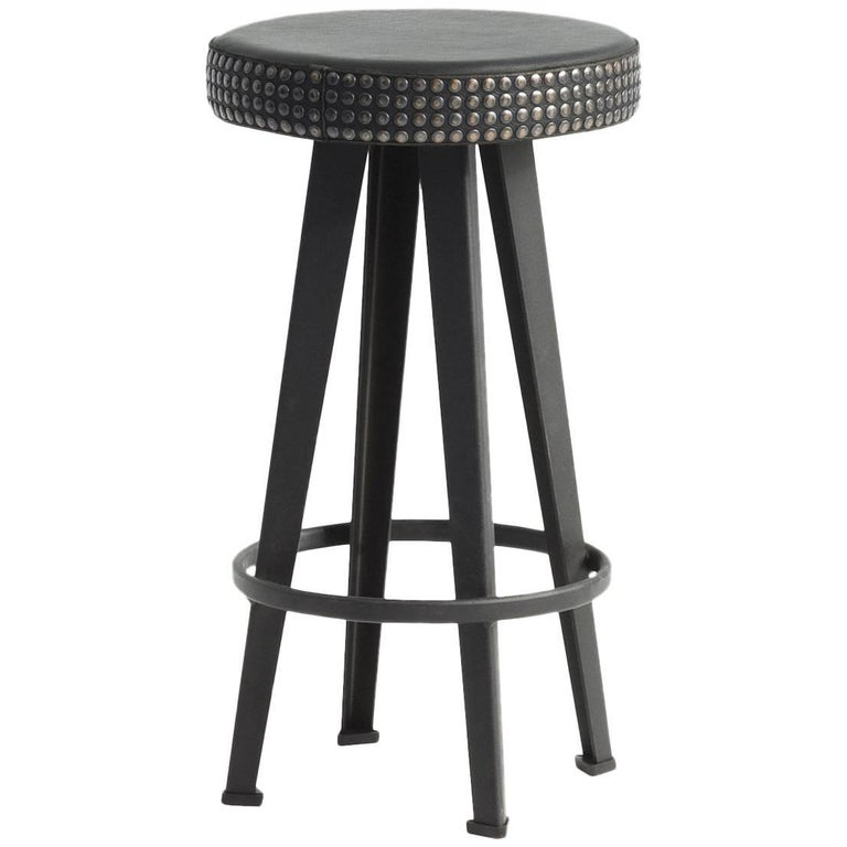 """Bar Stud"" Studded Black Leather and Steel Base Low Stool by Moroso for Diesel For Sale"